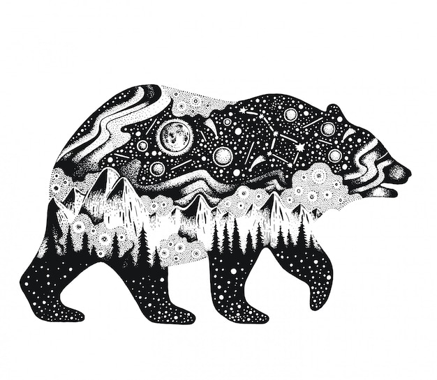 Sketch bear with mountains and forest Premium Vector