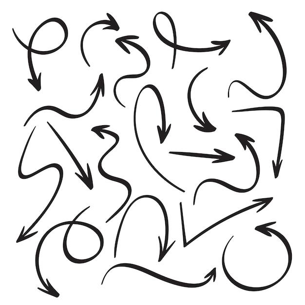 Sketch black arrows. icons set Premium Vector