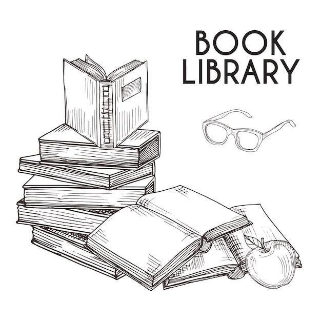 Эскиз книги и очки изолированных иллюстрация. стопка книг вектор концепции Premium векторы