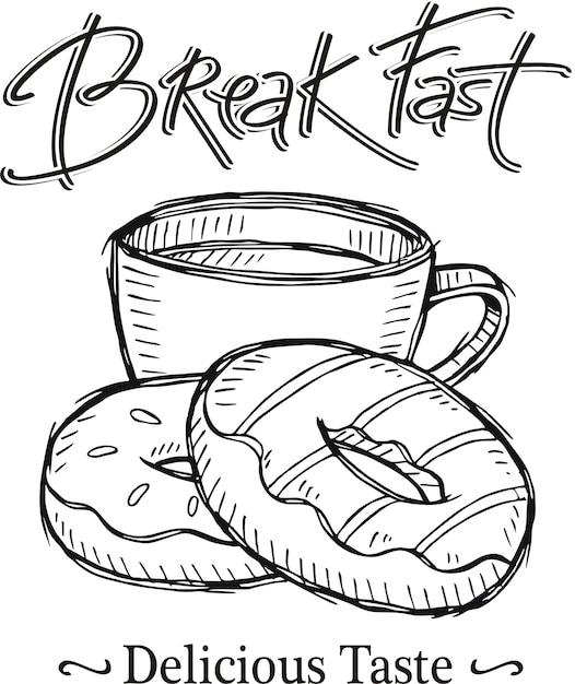 Sketch of break fast with coffee Vector | Premium Download
