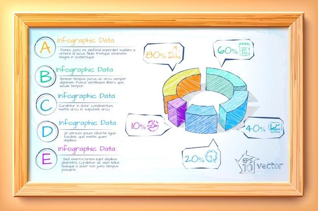 カラフルな図5オプションテキストと木製フレームの図のアイコンでビジネスインフォグラフィックテンプレートをスケッチします。 Premiumベクター
