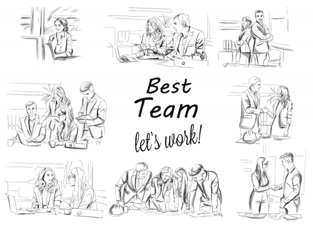 Sketch of business team working collection Vector | Premium Download