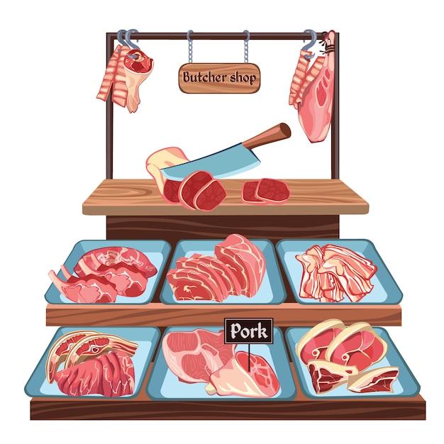 Schizzo butcher shop concept Vettore gratuito