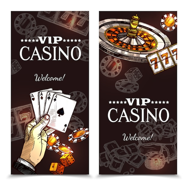 Sketch casino vertical banners Free Vector