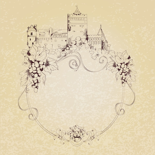 Sketch castle background Free Vector