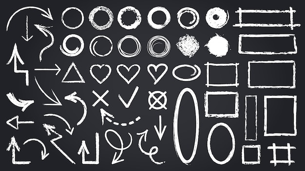 Sketch chalk elements. sketch chalkboard elements, hand drawn graphic arrows, frames, round and rectangle shapes   icons set. illustration round mark, cross tick rectangle shape sketch Premium Vector