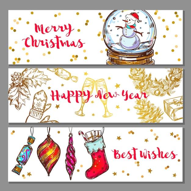 Эскиз рождественский баннер набор Бесплатные векторы