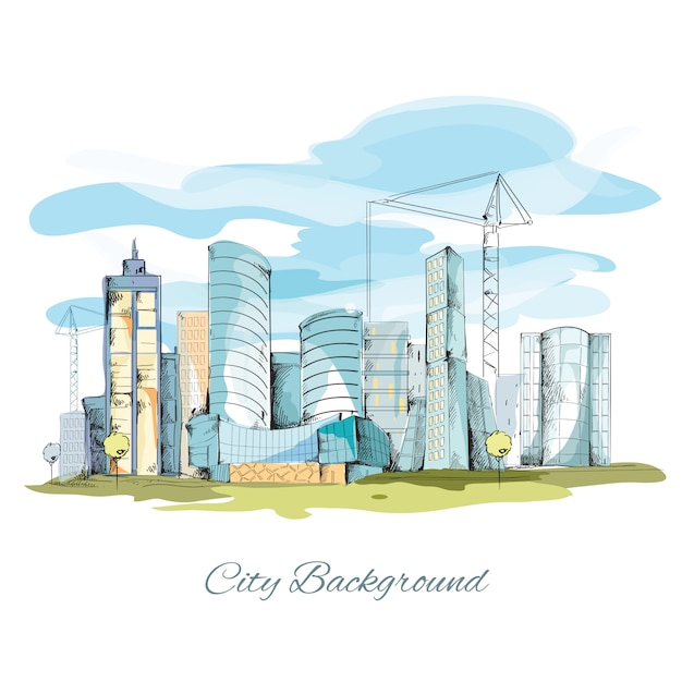Sketch city background Free Vector