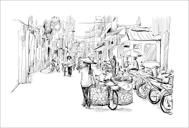 Phác thảo cảnh quan thành phố Hà Nội Việt Nam cho thấy người phụ nữ bán chuối đi xe đạp trên đường phố