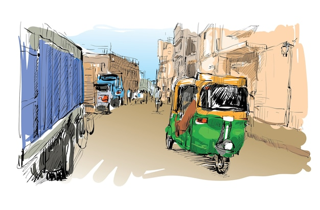 Sketch of cityscape in india show transportation moto rickshaw, illustration Premium Vector