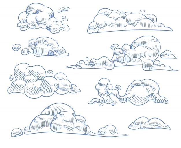雲をスケッチします。カールした曇り空を描きます。ビンテージスタイルのベクトルセットで手作りの工芸品を彫刻 Premiumベクター