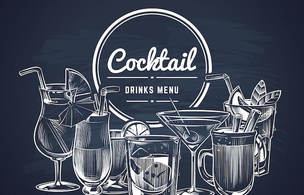 Sketch cocktail. hand drawn alcohol cocktails drinks bar menu, cold drinking restaurant beverages set. Premium Vector