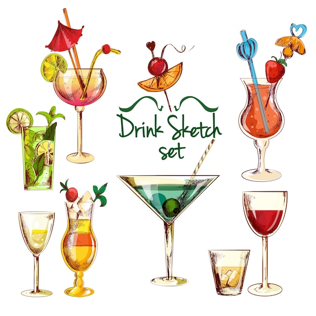 Sketch cocktail set Free Vector