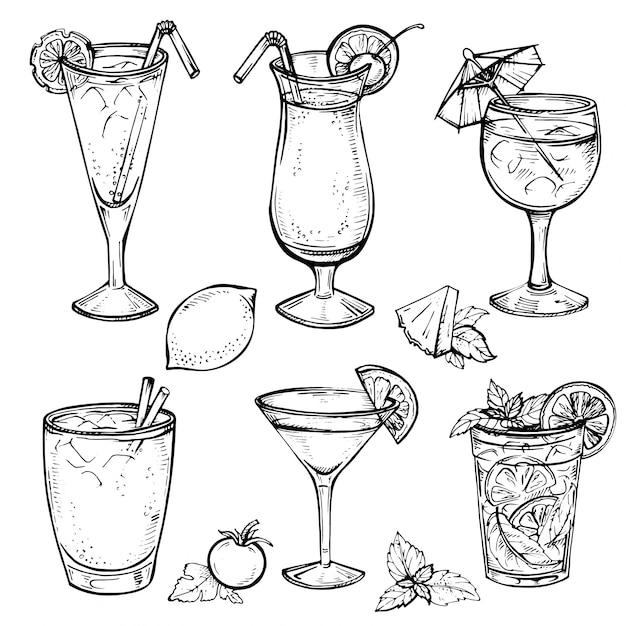 スケッチカクテルとアルコール飲料セット。 Premiumベクター