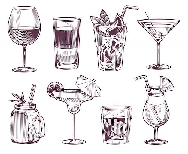Sketch cocktails. hand drawn cocktail and alcohol drink, different drinks in glass for party restaurant Premium Vector