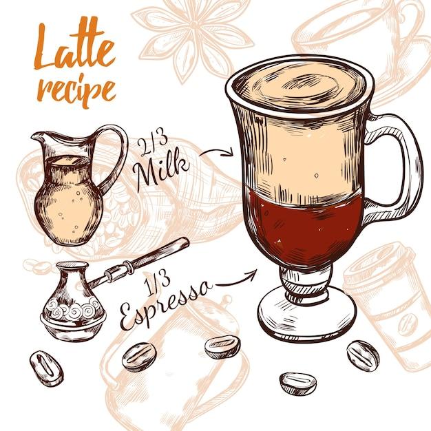 Sketch coffee recipe Free Vector