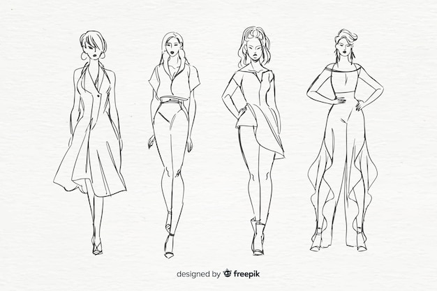 Sketch collection of fashion models Free Vector