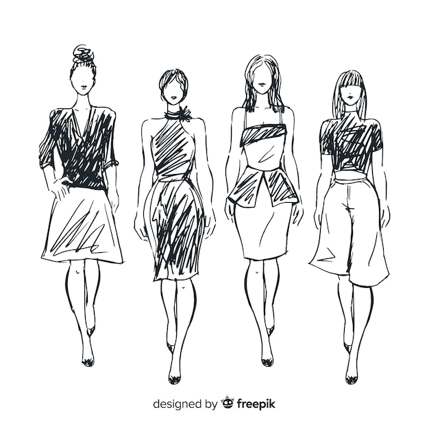ファッションモデルのスケッチ集 Premiumベクター