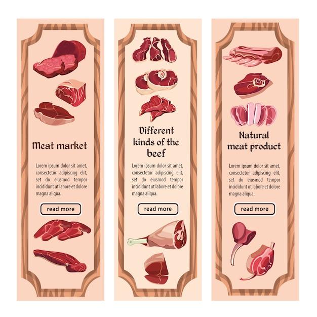 Banner verticale di carne colorata di schizzo Vettore gratuito