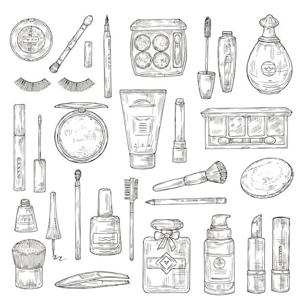 化粧品をスケッチします。つけまつげ、口紅と香水、パウダーとメイクブラシ、マニキュア、ファンデーションとピンセットの落書きベクトルセット。メイク美容口紅、パウダーと香水のイラスト Premiumベクター