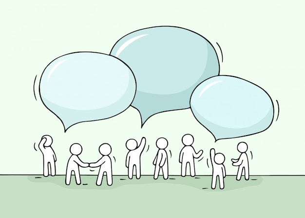 Sketch - crowd of working little people with speech bubbles. Premium Vector