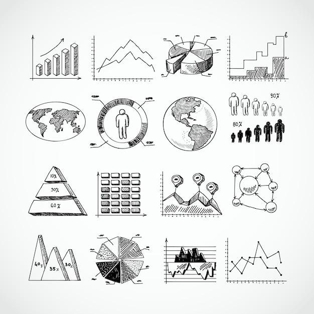 Sketch diagrams set Free Vector