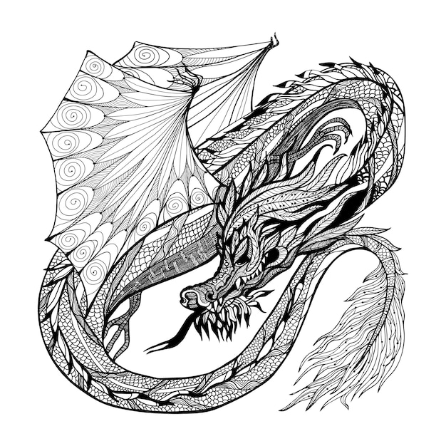 Sketch dragon illustration Free Vector
