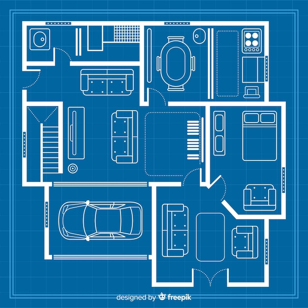 Sketch draw with blueprint for house Free Vector
