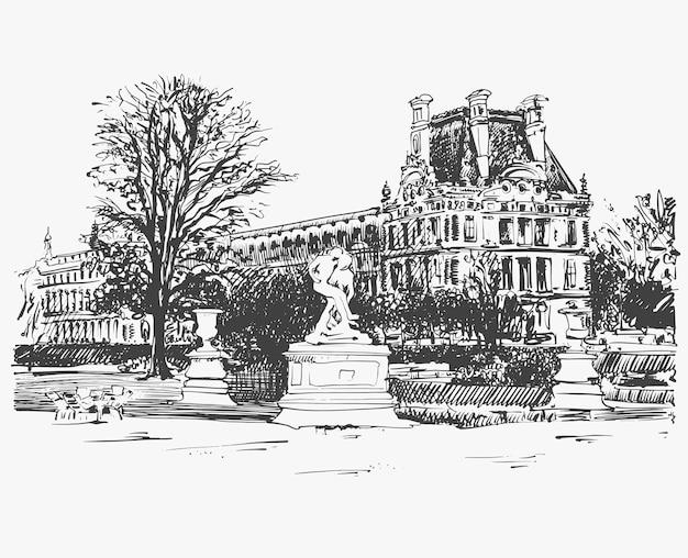 パリ、フランスの有名な場所、ルーブル美術館のスケッチ画、白黒 Premiumベクター