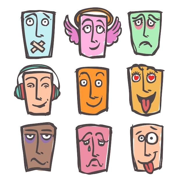 Sketch emoticons colored set Premium Vector