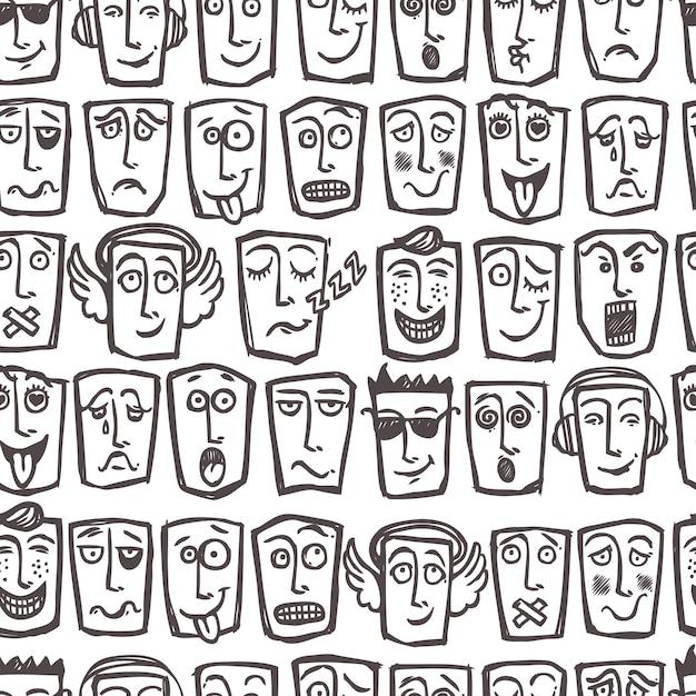 Sketch emoticons seamless pattern Premium Vector