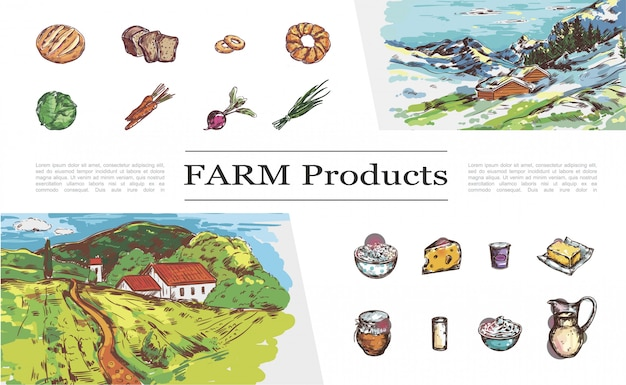 Sketch farm products collection with bread vegetables cheese milk yogurt butter honey cream and nature landscapes with country houses Free Vector