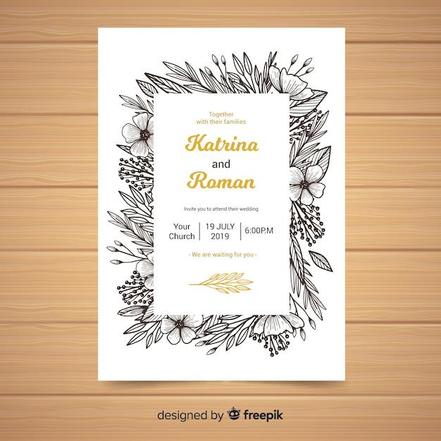Sketch Frame Wedding Invitation Template Vector