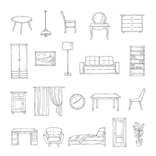 家具をスケッチします。本棚と椅子、ソファとテーブル、ワードローブ、ランプの家庭用植物。インテリアヴィンテージ手描き孤立した要素。家具のインテリア、テーブルとソファ、椅子とランプのイラスト Premiumベクター