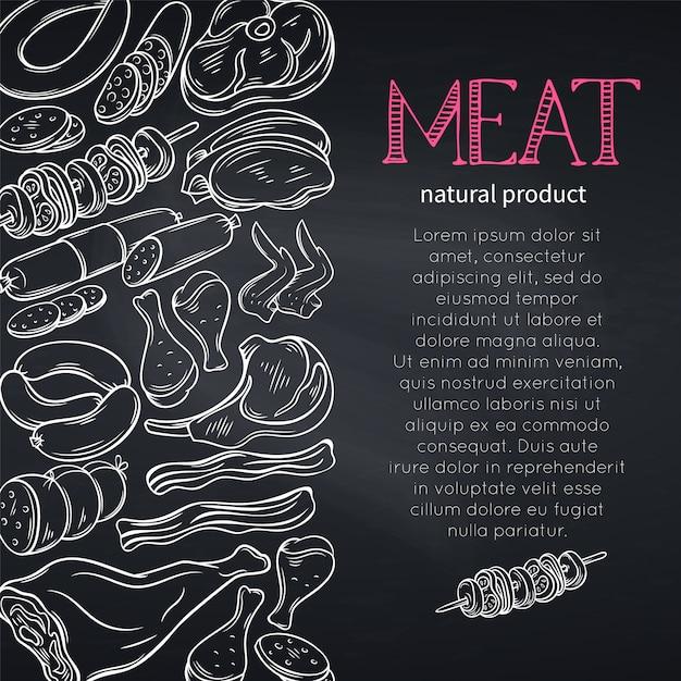 Эскиз гастрономического мяса Premium векторы