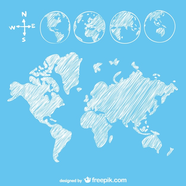 Sketch goobe and map Free Vector