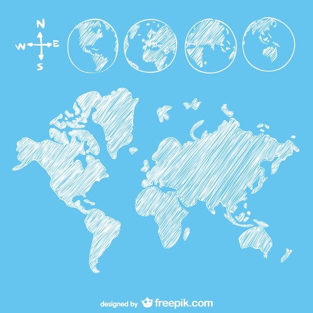 Sketch goobe and map Free Vector