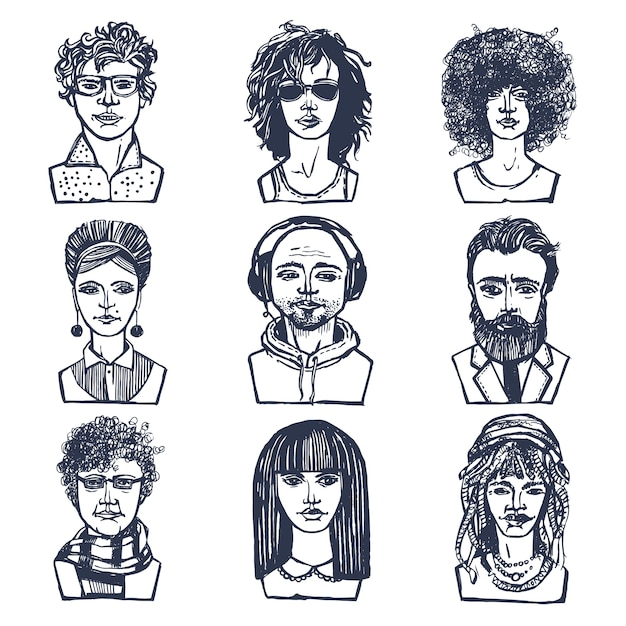 Sketch grunge males and females people portraits set isolated vector illustration Free Vector
