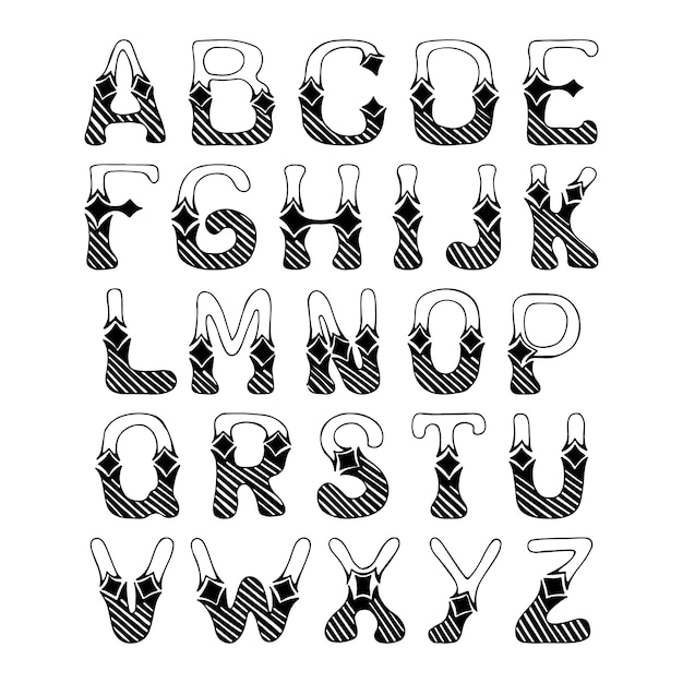 sketch hand drawn alphabet with hatch ornament font letters isolated
