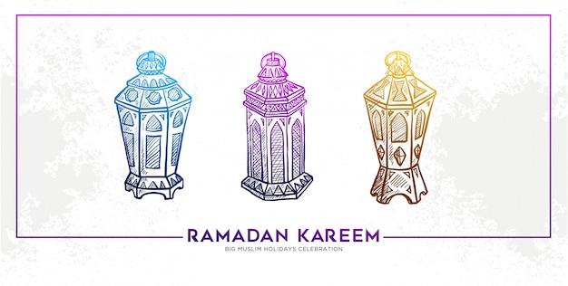 Sketch of hand drawn banner ramadan kareem lantern Premium Vector