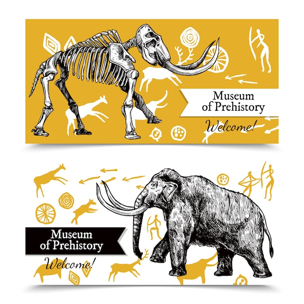 Sketch hand drawn mammoth banners Free Vector