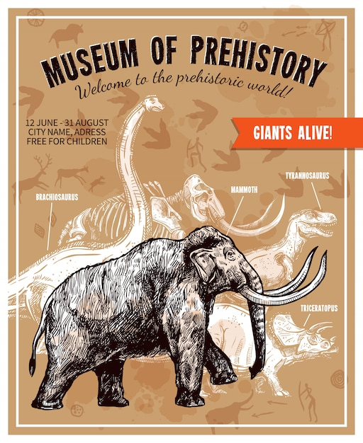 Sketch hand drawn mammoth illustration poster Free Vector