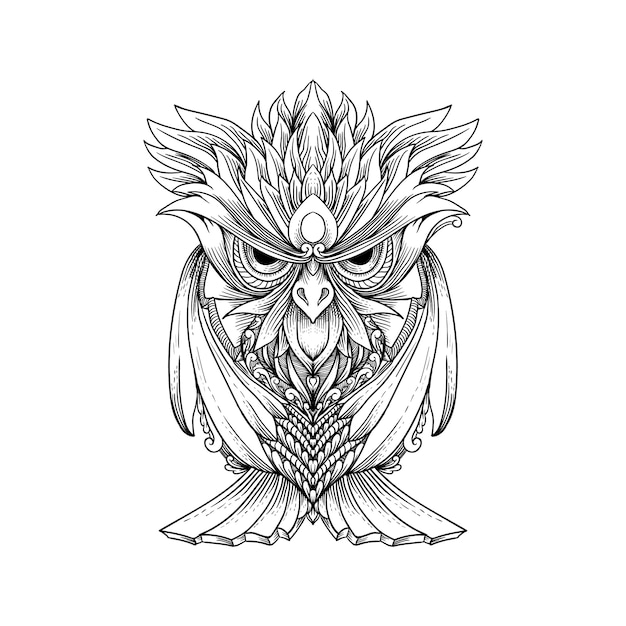 スケッチ手描きのフクロウは、タトゥー、tシャツのデザイン、装飾に使用できます。 Premiumベクター