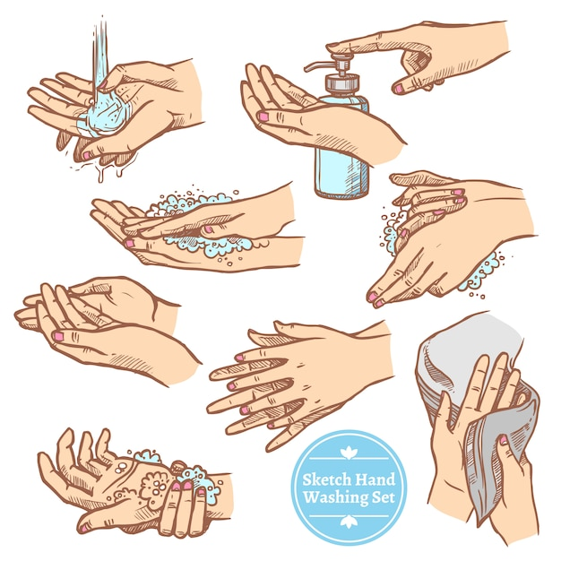 Sketch hands washing hygiene set Free Vector