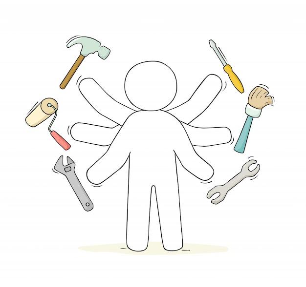 Sketch of handyman with tools. Premium Vector