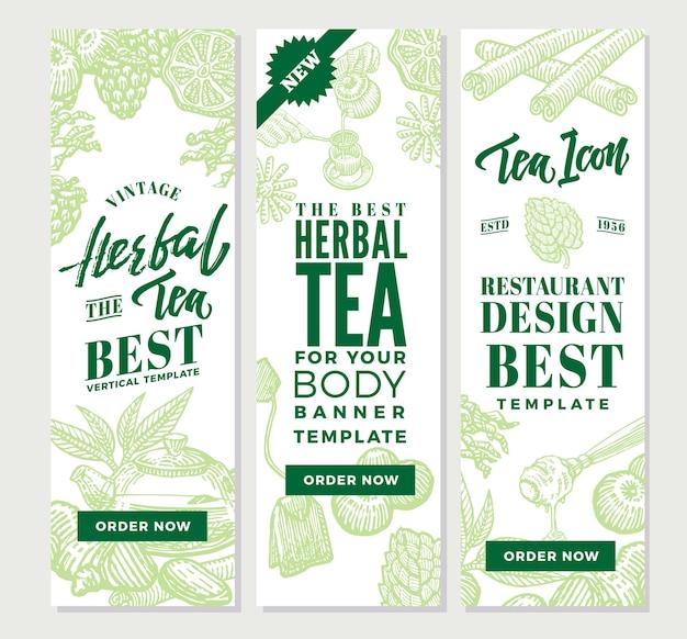 Эскиз здорового чая вертикальные баннеры Бесплатные векторы