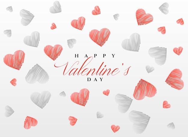 sketch hearts pattern background for valentine's day Free Vector
