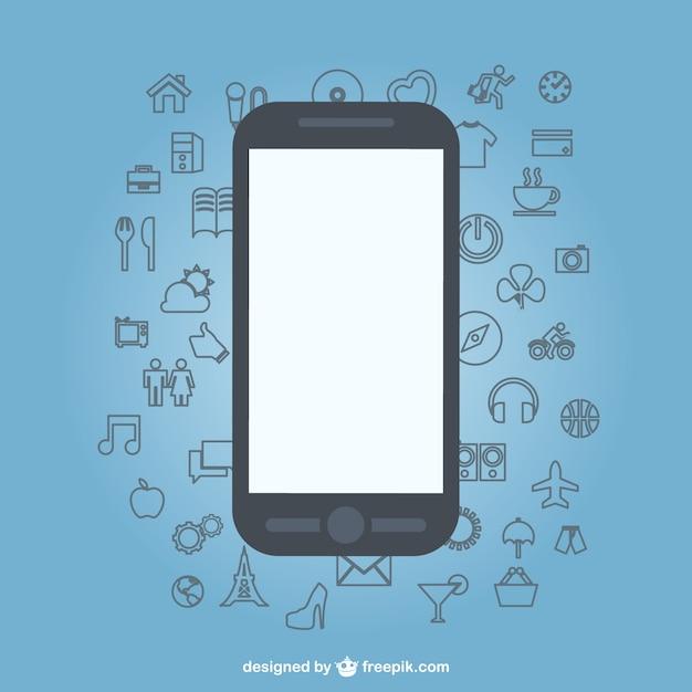 sketch icons flat mobile phone design vector free download. Black Bedroom Furniture Sets. Home Design Ideas