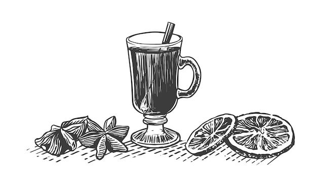 향신료와 Mulled 와인의 그림을 스케치하십시오. 유리에 뜨거운 음료 프리미엄 벡터