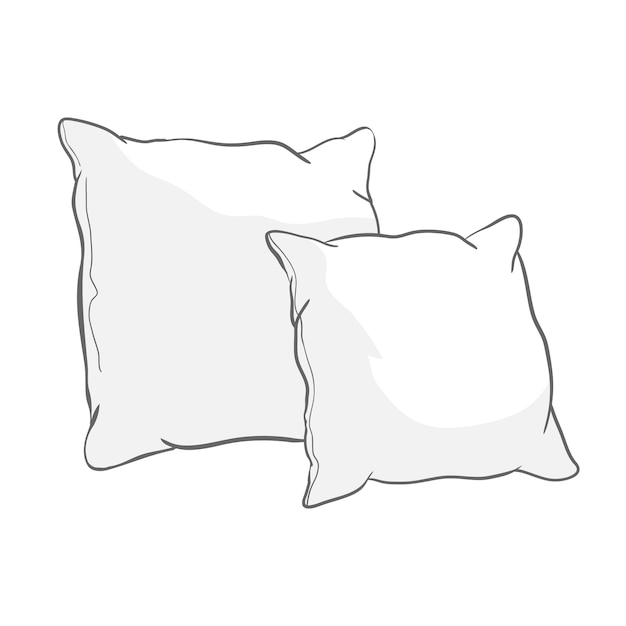 Sketch   illustration of white pillows Premium Vector